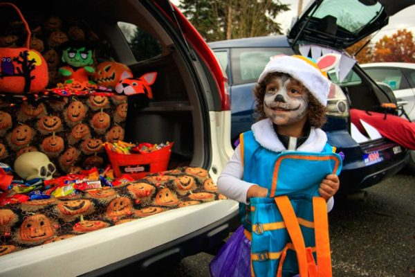 Costumed child by decorated trunk of a van.