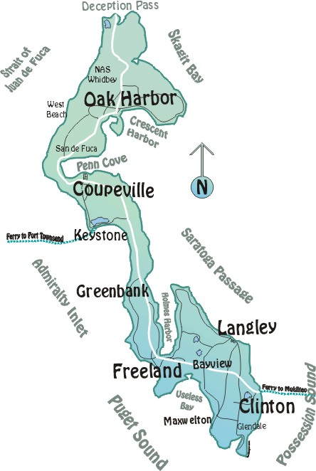Map of Whidbey Island