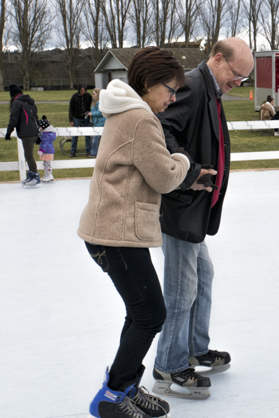Older couple skating